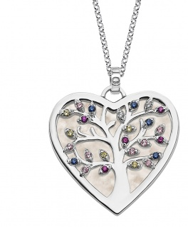 Lotus Silver Halsschmuck Collier Kette mit Herz und Lebensbaum Anhänger Silber LP1893-1/1