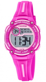 Calypso Kinder digital PU-Band Armbanduhr pink Kunststoff Quarz K6068/1 K6068
