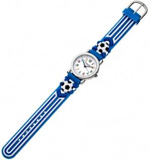 Eichmüller Kinderuhr analog Uhr blau Armbanduhr Edelstahl Silikon Fußballmuster 34974