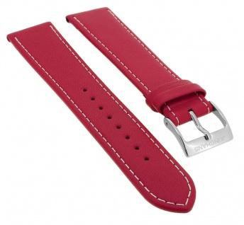 Junghans Meister Driver Automatic Ersatzband 20mm rot Uhrenarmband Leder mit Naht 027/4716