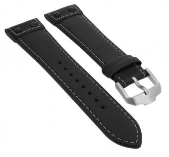 Junghans Meister Pilot Chronoskope Uhrenarmband 22mm Leder schwarz mit Naht 027/3590