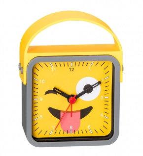 Wecker Kinderwecker Alarm Analog Kunststoff gelb-grau mit schleichende Sekunde