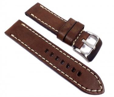 Minott Vintage Fliegerband Optik Leder Braun 24mm 23943S