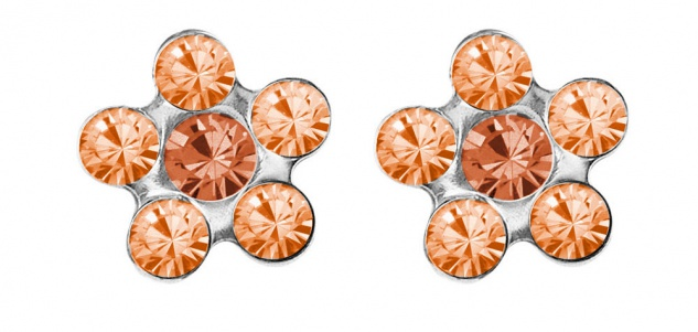 STUDEX Blume Erstohrstecker mit Steinimitation orange Edelstahl 100% Steril 34199