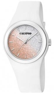 Calypso Damenuhr analog weiß Kunststoff Armbanduhr Uhr PU-Band Quarzuhr K5754/1 K5754