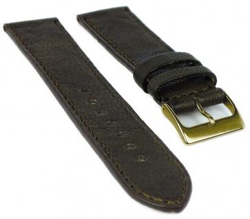 Herzog Piemont Uhrenarmband 22mm Leder braun Naht Band genarbt