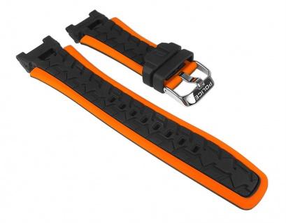 Uhrenarmband Kautschuk Band schwarz/orange passend zu Police Road Race P14215JSTB-02A