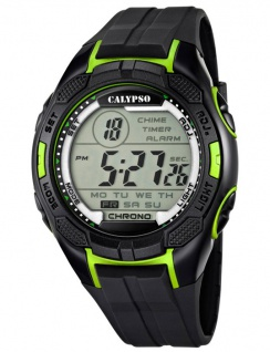 Calypso Armbanduhr Herrenuhr Digitaluhr Chrono schwarz/Grün 10 ATM K5627/4