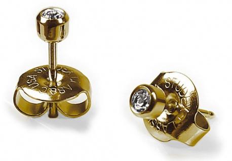STUDEX Erstohrstecker Ohrschmuck Stecker Ø 4mm aus Edelstahl mit Steinimitation Weiß 100 % Steril 23847