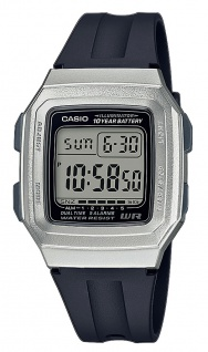 Casio Collection Digital Armbanduhr Resin schwarz /silberfarben F-201WAM-7AVEF