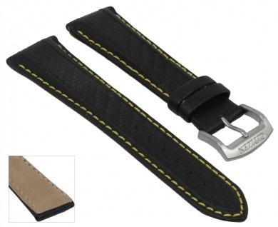 Citizen Uhrenarmband - Ersatzband aus schwarzem Leder mit gelber Naht 22mm - für Eco-Drive Herren Chrono AT0797-01E
