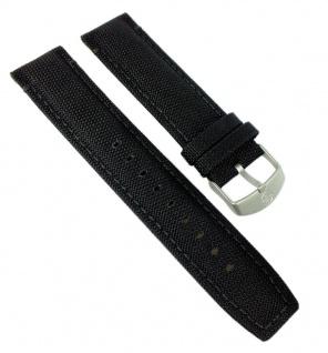 Timex Expedition Uhrenarmband Textil-Leder Band schwarz mit Naht 22mm für T49863