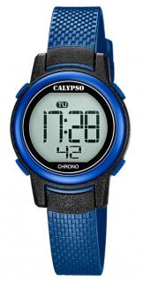 Calypso Kinderarmbanduhr Quarzuhr digital Kunststoffuhr blau mit Stoppfunktion Alarm Licht K5736/6