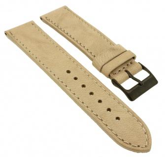 Herzog Piemont Ersatzband 22mm Uhrenarmband weiches Leder beige Naht Band genäht