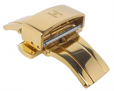 HIRSCH PUSHER BUCKLE Faltschließe Edelstahl mit Drückern goldfarben in 12mm 16mm, 18mm 20mm