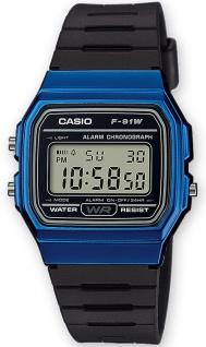 Casio Collection F-91WM-2AEF digital Uhr mit Automatischer Kalender / Resinband schwarz /blau