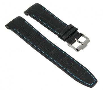 Uhrenarmband Ersatzband Leder schwarz mit türkiser Naht passend zu Jacques Lemans Liverpool JL 1-1655 1-1652 1-1516