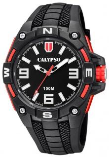 Calypso Herrenarmbanduhr Quarzuhr aus Kunststoff mit Silikonband Leuchtzeiger schwarz/rot K5761/6
