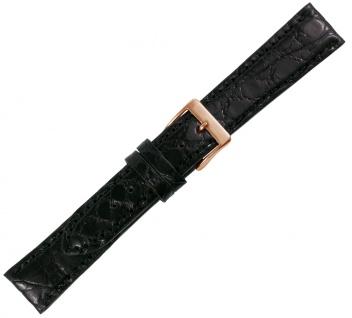 Minott Ersatzband Echt Krokodilleder schwarz Ton in Ton Naht IRV Zertifikat
