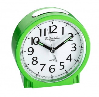 Wecker Reisewecker Alarm Analog Snooze Kunststoff grün rund mit schleichende Sekunde