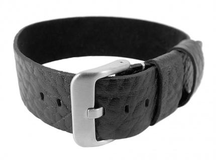 Minott | Uhrenarmband Leder Nato-Band - genarbt, schwarz mit breiten Schlaufen 29984