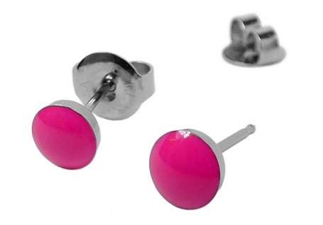 STUDEX Erstohrstecker Ohrschmuck Ohrringe Ø 5mm Edelstahl NEON - Pink - 100 % Steril 30708