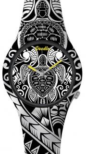 DOODLE WATCH ? Armbanduhr für SIE& IHN Ø 39mm   Silikon, schwarz/weiß > Schildkröte > DOAR002