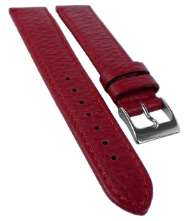 Herzog Uhrenarmband 16mm rot Hirschleder Naht Band Dornschließe