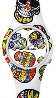 DOODLE WATCH :) Armbanduhr für SIE& IHN Ø 39mm   Silikon > White Skull > DOCA002