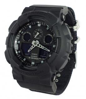 Casio G-Shock digitale Herrenuhr schwarz Textilband GA-100BBN-1AER
