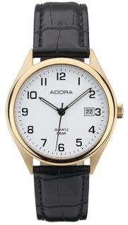 Adora Herren Armbanduhr Analog Edelstahl Lederband Datumsanzeige Ø 37mm