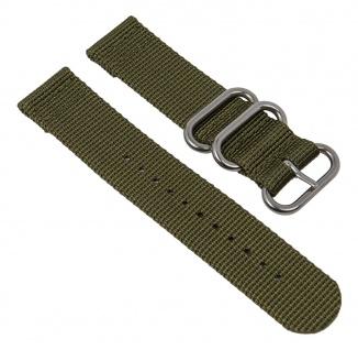 Uhrenarmband Textil Band olivgrün mit silberfarbenen Metallschlaufen Minott