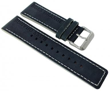 Hugo Boss Orange Ersatzband 24mm schwarz Band Leder Dornschließe silberfarben mit Logo 1513228