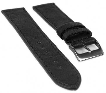 Herzog Piemont Ersatzband Uhrenarmband 18mm Leder schwarz Naht Band Titanschließe