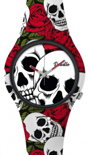 DOODLE WATCH Armbanduhr für SIE& IHN Ø 39mm Silikon Rosen &Totenköpfe > DOSK001