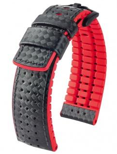 HIRSCH Performance | Uhrenarmband aus Leder/Kautschuk schwarz/rot Carbonoptik 30951B