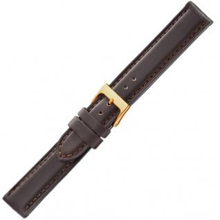 Herzog Neapel Uhrenarmband 18mm Leder braun Naht Band Dornschließe
