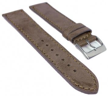 Herzog Piemont Uhrenarmband 22mm Leder weich braun Naht Band
