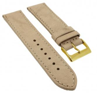 Herzog Piemont Ersatzband 20mm Uhrenarmband beige weiches Leder Naht Band