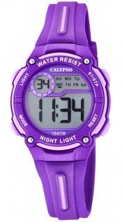 Calypso Digital Crush Kinderuhr digital PU-Band Armbanduhr violett Kunststoff Quarzuhr K6068/2 K6068