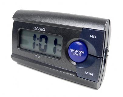 Casio Digital Wecker Reisewecker mit Snooze Funktion Anthrazit PQ-31-1EF