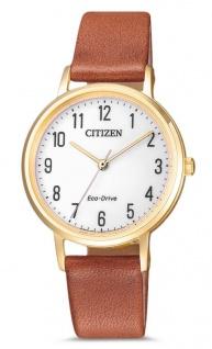 Citizen Armbanduhr | Eco-Drive Solarzelle | Lederband, braun | gelbgoldfarben > EM0578-17A
