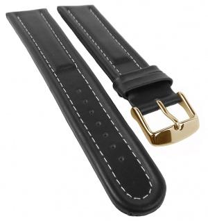 Eichmüller Lederband, glatt | Uhrenarmband | schwarz mit Kontrastnaht | XL-Überlänge 34140