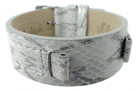 s.Oliver Ersatzband Unterlageband 10mm Leder grau glänzend Reptilien- Optik SO-1743-LQ SO-1744-LQ