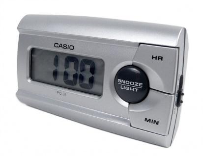 Casio Digital Wecker Reisewecker mit Snooze Funktion Hellgrau PQ-31-8EF