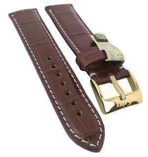 Alligator Highline Uhrenarmband 18mm - 22mm | Alligator-Leder mahagonibraun, seidenglänzend 30397