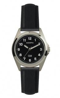 Damen Adora Armbanduhr | Lederband & Ziffernblatt, schwarz | Titangehäuse & Dornschließe | 37848
