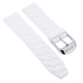 Lotus Watches Ersatzband 20mm Kautschuk weiß Schließe silberfarben 15796 15796/1
