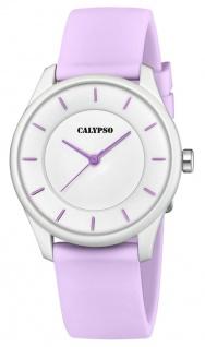 Calypso Damenarmbanduhr Quarzuhr Analoguhr Kunststoffuhr helllila mit weichem Silikonband K5733/2