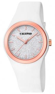 Calypso Damenuhr analog weiß Kunststoff Armbanduhr Uhr PU-Band Quarzuhr K5755/1 K5755